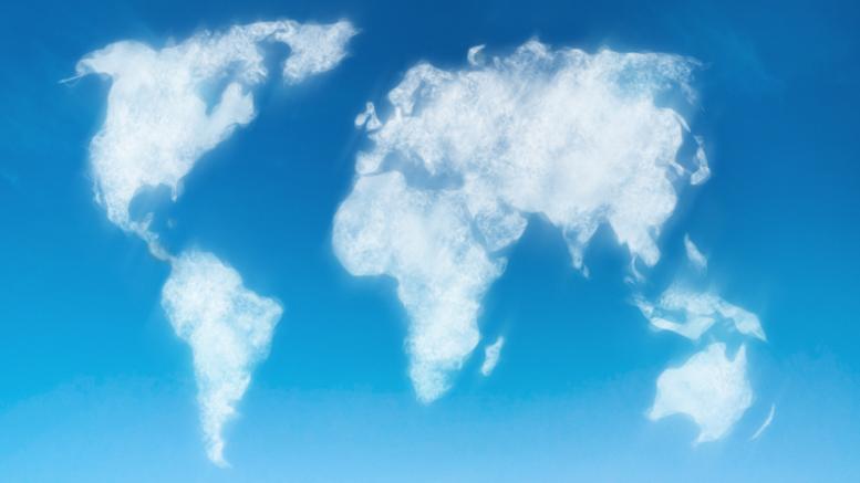 Carte du monde en nuages