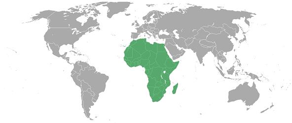 Afrique sur la carte du monde