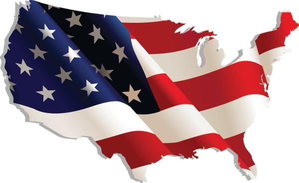Drapeau des Etats-Unis en forme de carte